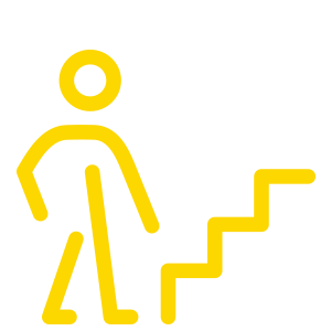 yellow person in front of stairs icon