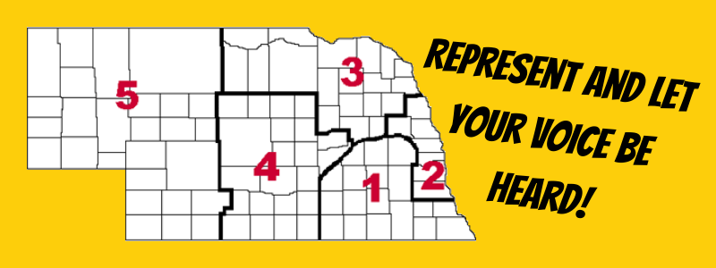 Map of Nebraska with Regions - Represent and Let your voice be heard!